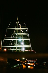 Moshulu shines bright on the Delaware River.