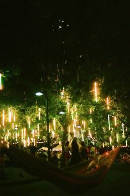 It rains light on the hammocks of Spruce Street Harbor Park.