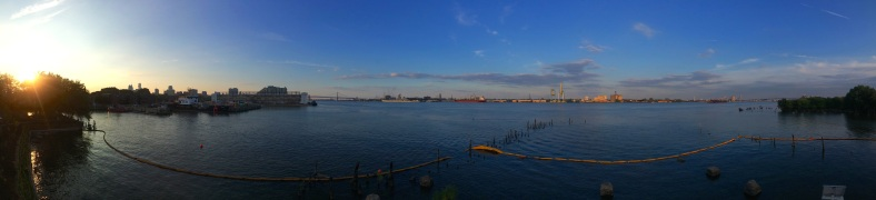 A panoramic view of the Delaware River from Pier 53.