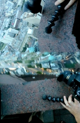 A panorama fail reveals my subconscious feelings on dangling one's camera over the railing of a tall building.