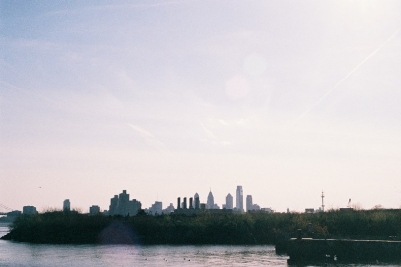 The Philadelphia skyline as seen from Graffiti Pier.