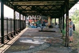 Abandoned elevated train station.
