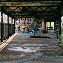 Abandoned elevated train station.