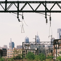 Philadelphia skyline as seen from the Reading Viaduct.