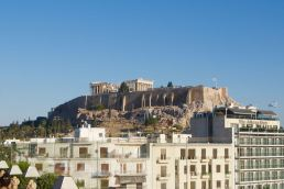 The Parthenon atop the Acropolis in Athens, Greece, as seen from the Royal Olympic Hotel.
