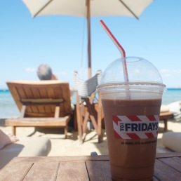 T.G.I. Friday's Freddoccino on Astir Beach, Athens.