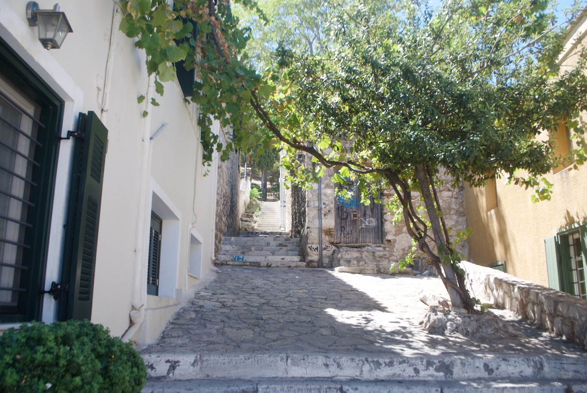 Walking up a street on the way to the Acropolis in Athens, Greece.