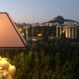 Night falls on the Temple of Olympian Zeus.