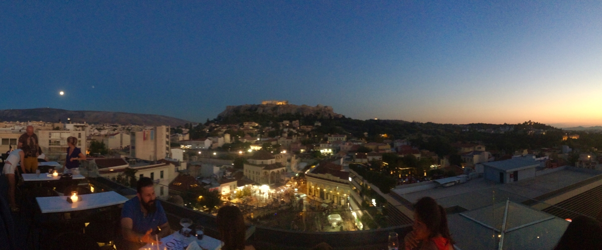 View from the rooftop lounge at A for Athens in Greece.