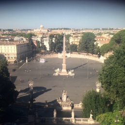 Piazza del Popolo as seen from the Pincio, Rome, Italy.