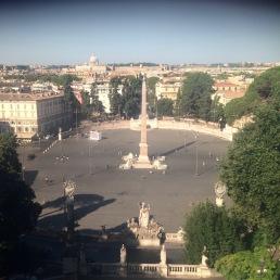 Piazza del Popolo as seen from the Pincio, Rome, Italy.