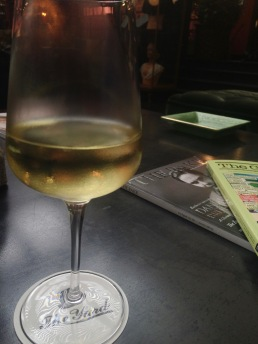 Complementary wine at The Yard hotel in Milan, Italy.