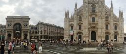 Centered precisely between the Duomo and Galleria Vittorio Emanuele.