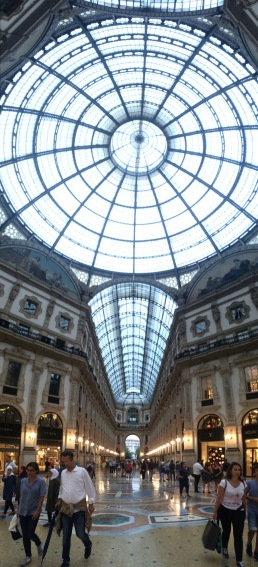 Looking up in the center of Galleria Vittorio Emanuele.