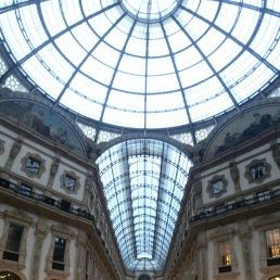 Looking up in the center of Galleria Vittorio Emanuele.