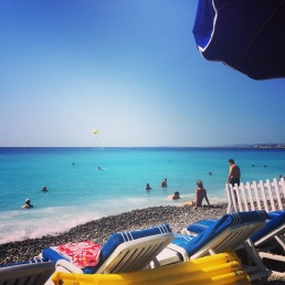 One of the many Nice beaches in the Côte d'Azur, the French Riviera.
