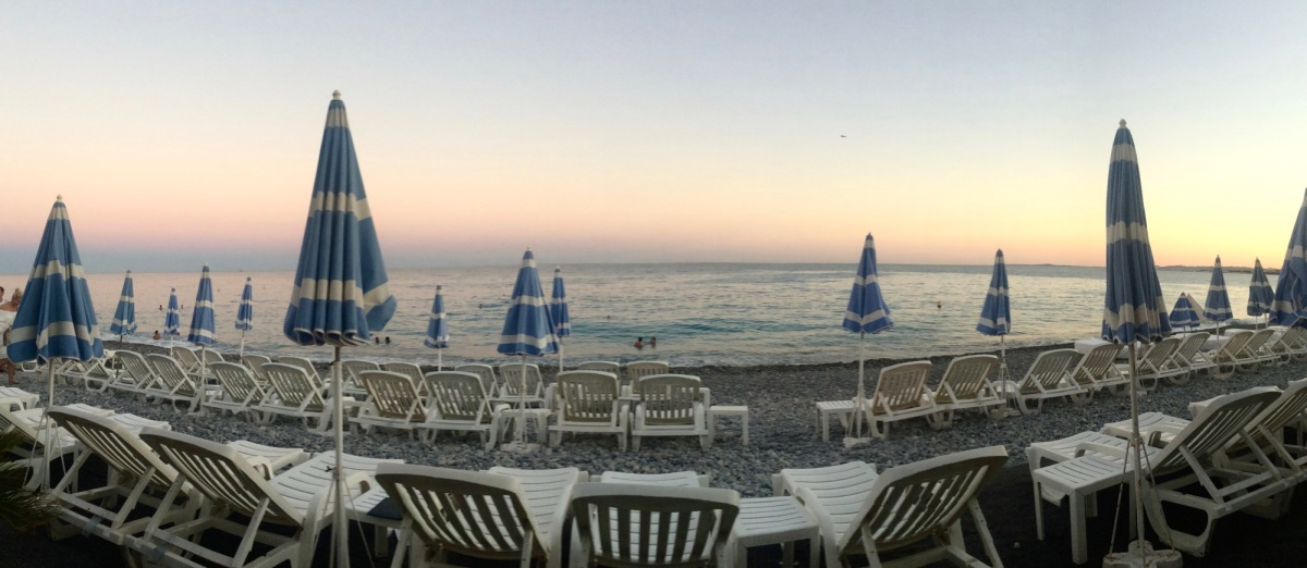 Watching the sunset from the bar at Plage Beau Rivage.